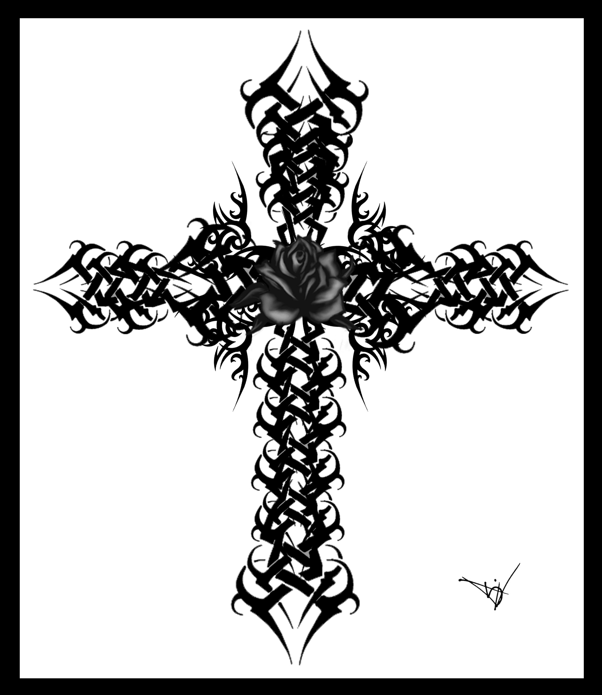 Gothic Cross Drawings