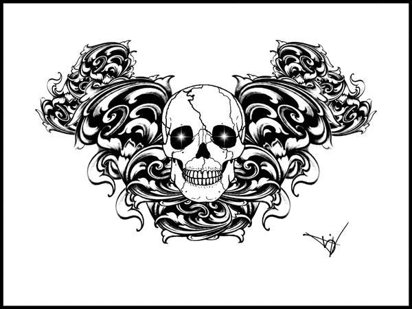 Gothic Skull Filigree tattoo