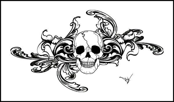 Quicksilverfury 173 6 Gothic Skull Filigree Tat V3 by Quicksilverfury