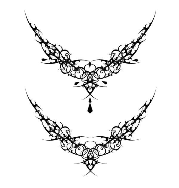 Gothic vamp neck tattoo by quicksilverfury on deviantart for Gothic neck tattoos