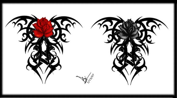 Gothic Tribal Rose Back Tat V2 By Quicksilverfury On