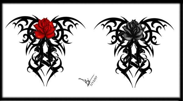 Gothic Tribal Rose Back Tat V2 By Quicksilverfury