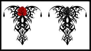Gothic Tribal Rose Back Tat V3