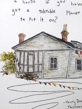 Thoreau Quote Illustration close up