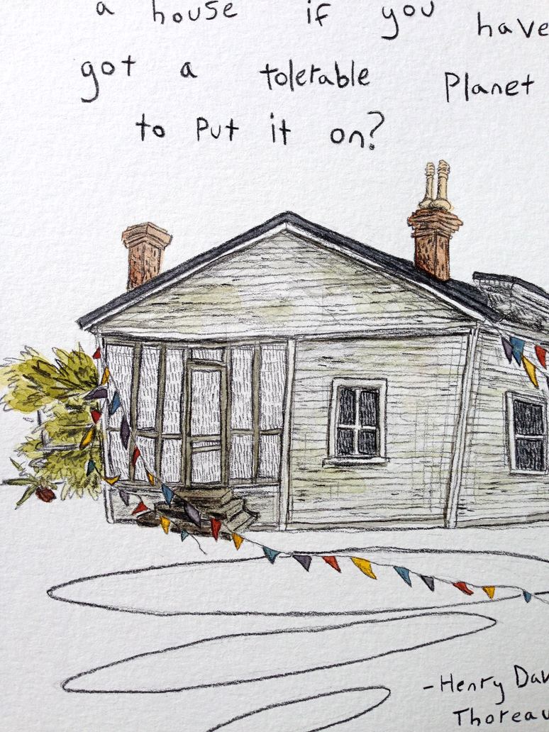 Thoreau Quote Illustration close up by Jarofpencils