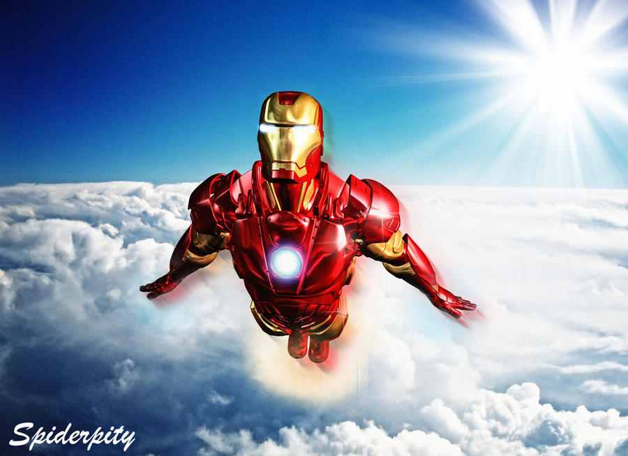 how to draw iron man flying
