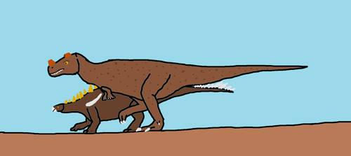 Ceratosaurus vs Kentrosaurus by Animedino321