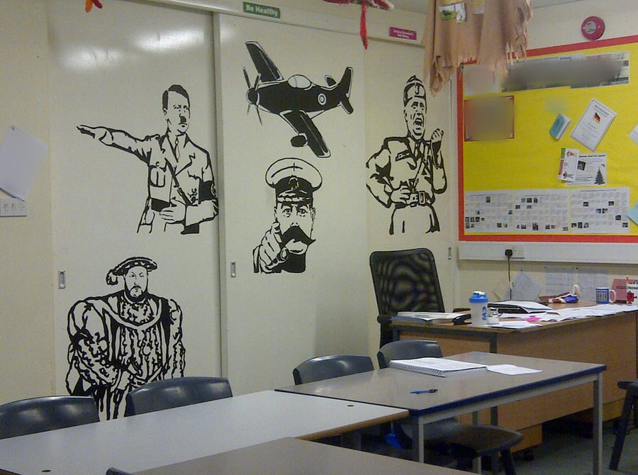 Modern English Classroom ~ Historical figures painted on classroom cupboard by