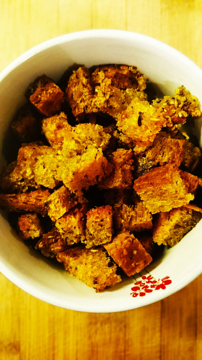 Wholemeal croutons