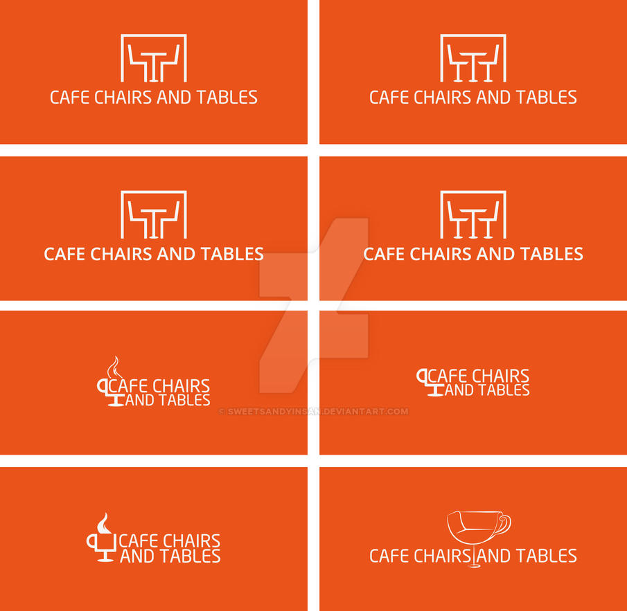 cafe chairs and tables logo options by sweetsandyinsan