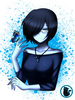 The Blue Bird and Butterfly [colored version]