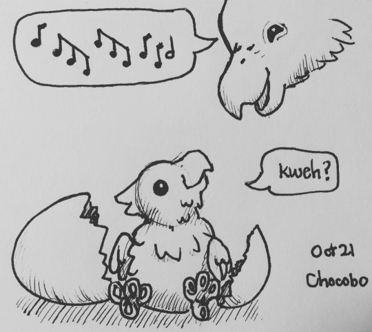 Inktober day 21 - Chocobo Baby by meihua