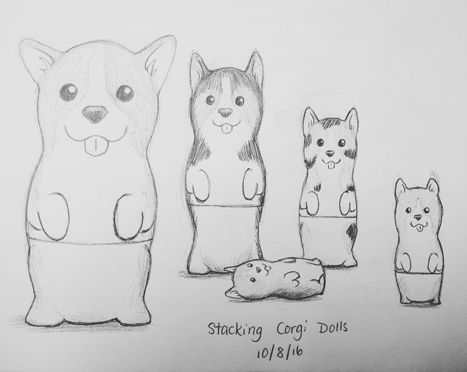 Inktober Day 8 - Matryoshka (Stacking Corgi Dolls) by meihua