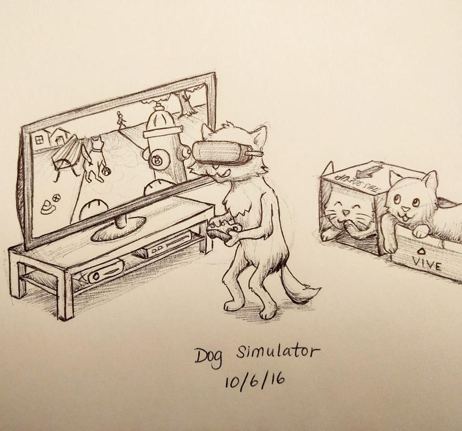 Inktober Day 6 - Dog Simulator by meihua