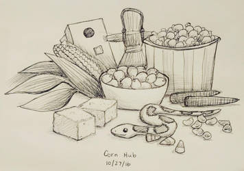 Inktober day 27 - Corn Hub by meihua