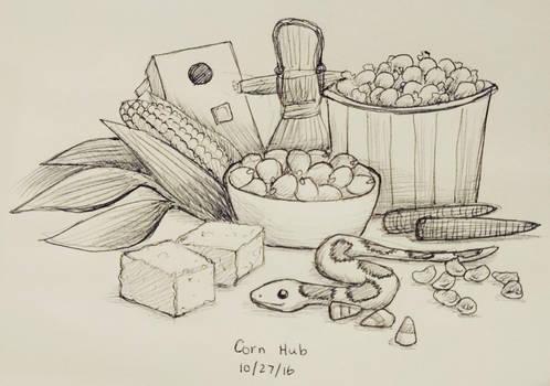 Inktober day 27 - Corn Hub