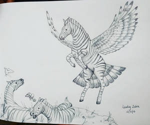 Inktober day 30 - Landing Zebra by meihua