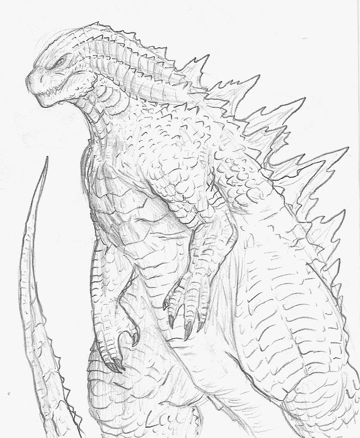 Godzilla 2014 full body sketch by godzillabrady500