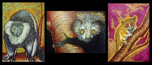 Three Lemurs ACEOs by Redwall151