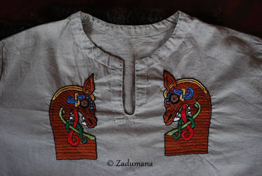 Viking shirt: Gokstad Beasts Embroidery by Zadumana