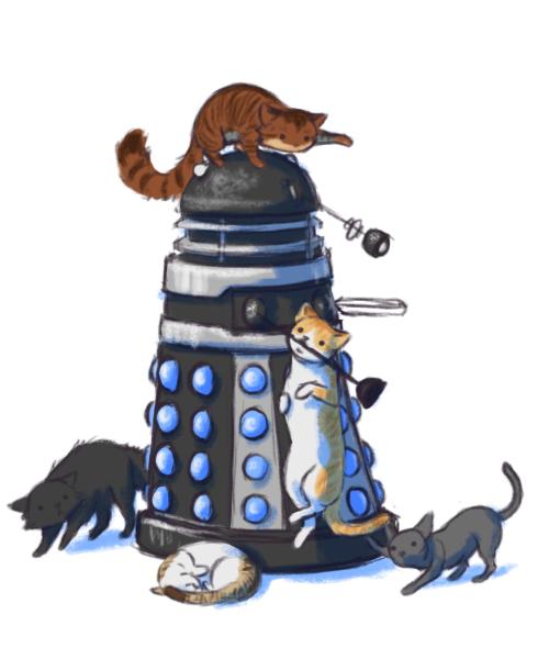 Five Genius Cats: Dalek by soyrwoo