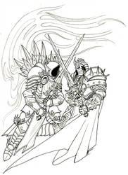 Tyrael vs. Arthas Tattoo Line Art by JRinaldi