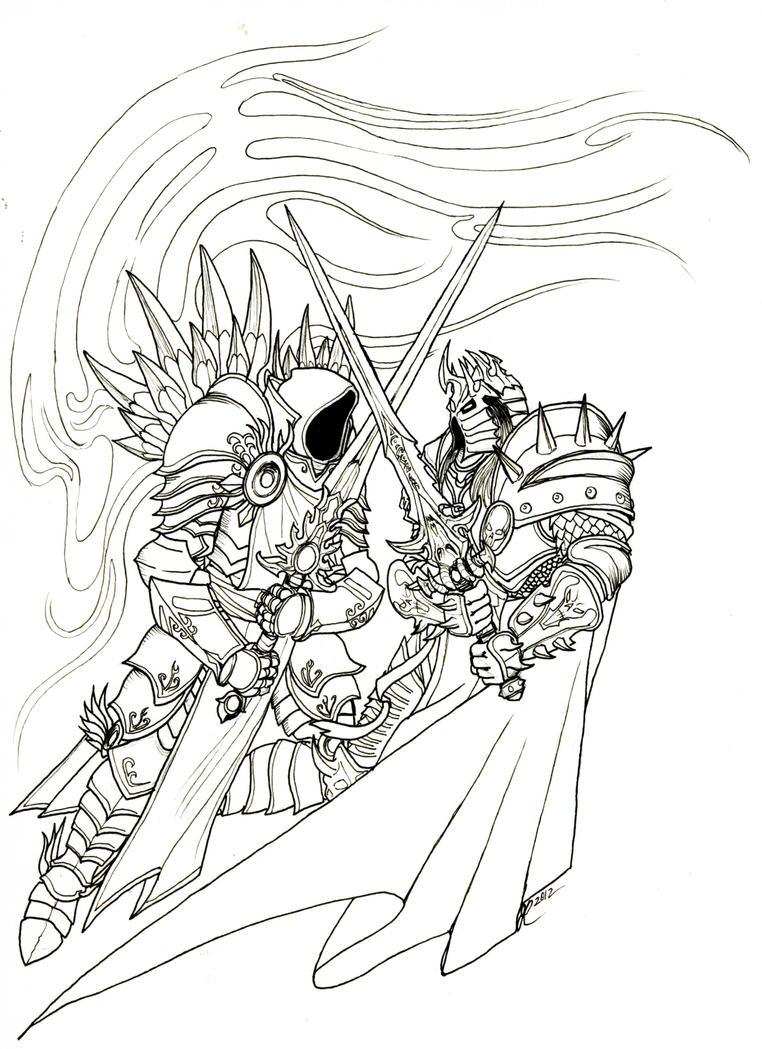 Line Drawing Tattoo Art : Tyrael vs arthas tattoo line art by jrinaldi on deviantart