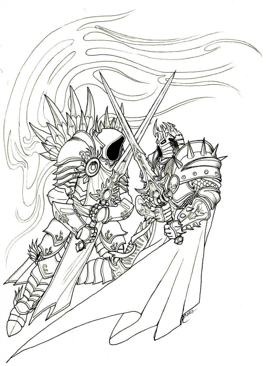 Line Drawing Vs Mass Drawing : Paladin world of warcraft coloring pages