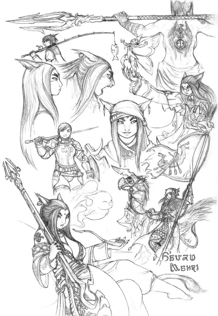 Sketches of S'anzu by JRinaldi