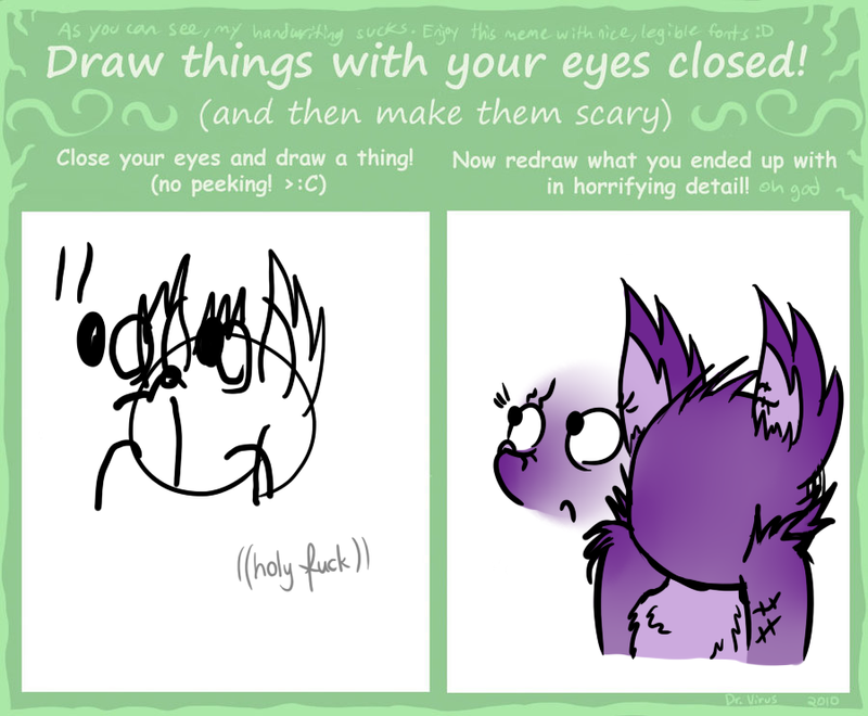 drawing with eyes closed meme by kana the drifter on deviantart