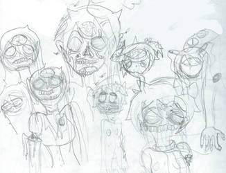 Assorted DDLC Horror Sketches by Vaporblook