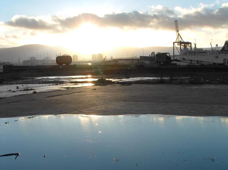 Shipyard at sunset