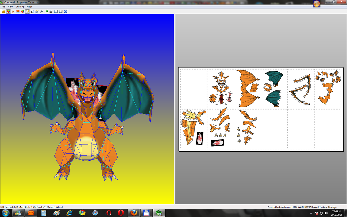 Charizard Papercraft - done by Sabi96PapercraftBox