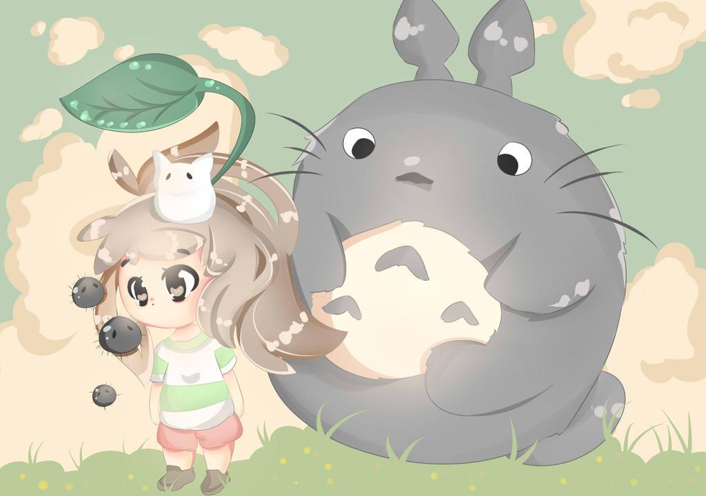Chihiro Meets Totoro by Cherubii