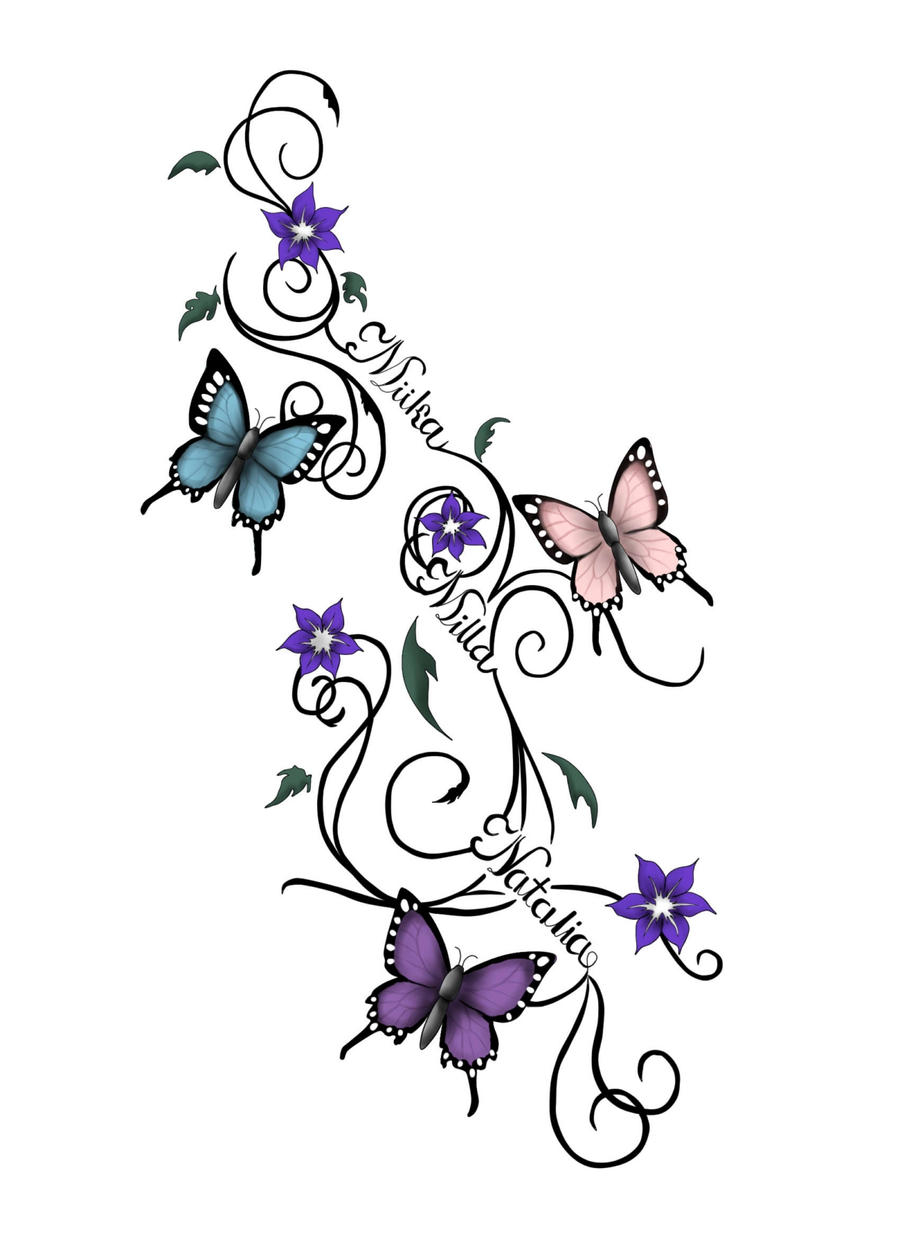 Butterfly with Vines Tattoo Designs