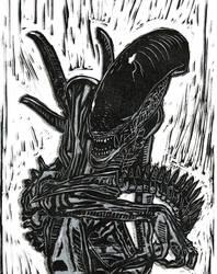 Alien Block Print by Colleen80