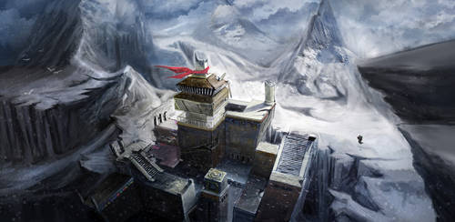 Temple on snowy mountain-render