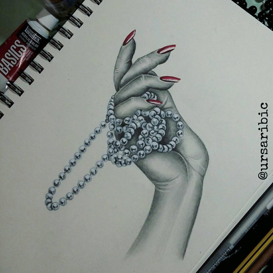Hand with pearls by ursaribic