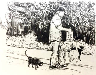 Man With Cats by dandelionstudios