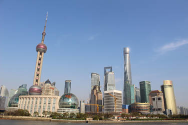 Shanghai Pudong Skyline from the Huangpu River by dandelionstudios