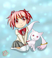 Madoka and Kyubey by PinkCloverPrincess