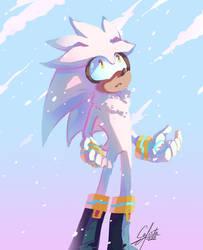 Silver the hedgehog snowfall by Calista-222