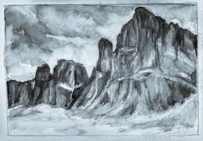 Stormy Cliff #inktober #inkfebruary by KatyAmlie