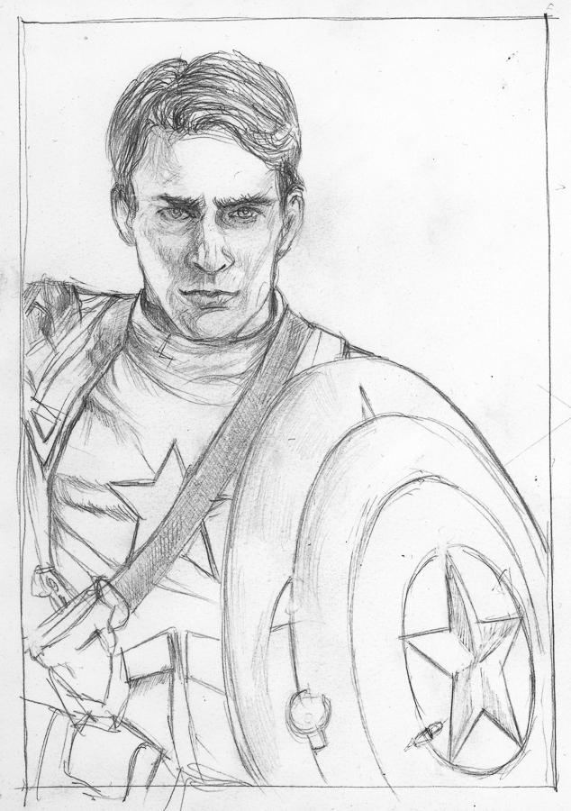 Cap! Marvel Project / #1 Steve Rogers (sketch) by KatyAmlie