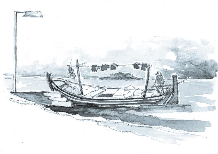 Blue Boat #inktober #inkfebruary by KatyAmlie