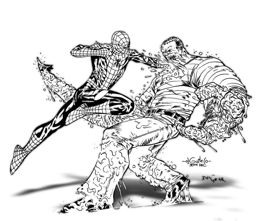 full page coloring pages spiderman 3 | Spiderman vrs Sandman Inked by devgear on DeviantArt