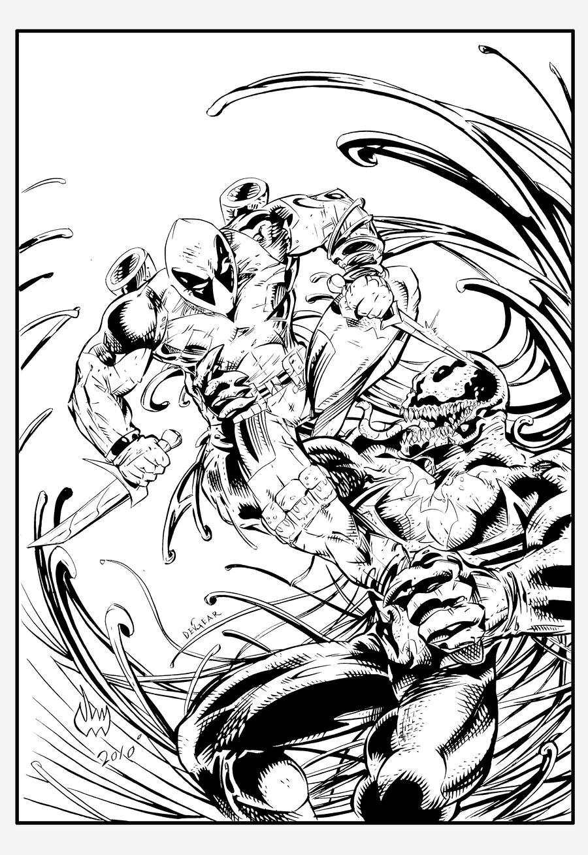 Line Drawing Vs Mass Drawing : Deadpool vs venom ink by devgear on deviantart