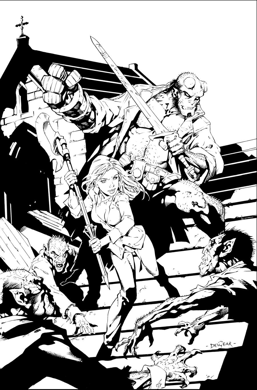 Coloring Pages Hellboy Coloring Pages buffy and hellboy inks by devgear on deviantart devgear