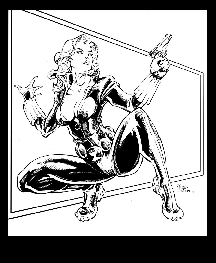 Black widow inks by devgear on deviantart for Black widow coloring pages