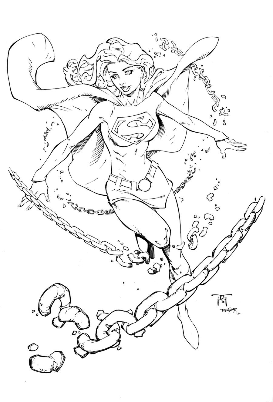 Supergirl inks by devgear on deviantart for Supergirl coloring page